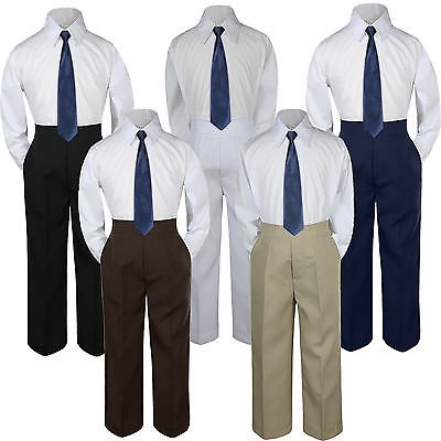 3pc Boys Suit Set Navy Blue Necktie Baby Toddlers Kids Formal Shirt Pants S-7