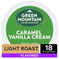Green Mountain Coffee Caramel Vanilla Cream, Flavored Keurig K-Cup Pod, Light Roast, 18 Ct