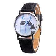 b2076e9e9c53 iLH Mallroom Children Civet Cats Retro Design Leather Band Analog Alloy  Quartz Wrist Watch