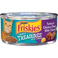 Friskies Tasty Treasures Turkey & Chicken Dinner with Cheese Pate Cat Food Case of 24- 5.5 oz. Cans