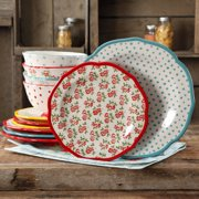 The Pioneer Woman Timeless Floral & Retro Dot 12-Piece Dinnerware Set