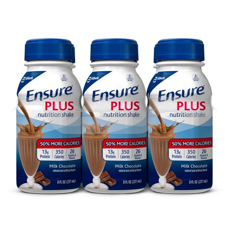 Ensure Plus Nutrition Shake with 13 grams of high-quality protein, Meal Replacement Shakes, Milk Chocolate, 8 fl oz, 24 - Shake Butter Pecan