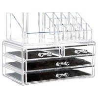 2 in 1 Durable Thick Clear Acrylic Jewelry Cosmetic Storage Organizer Drawer Makeup Box Display Holder Countertop Storage for Jewelry Cosmetics Lipsticks Brushes Home Travel Accessory Easy to Use