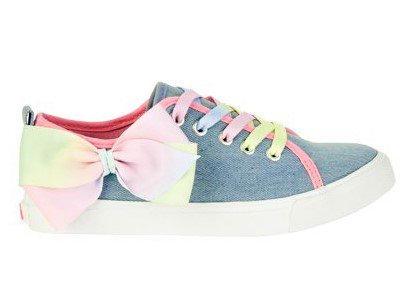 Jojo Siwa Girl's Denim Lace Up Sneakers With Bow - Saddle Shoes For Girls