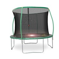 Bounce Pro 10-Foot Trampoline, with Enclosure and Flashlight Zone, Green