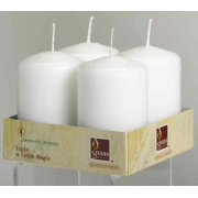 """White Pillar Candle 2"""" Wide  x 3""""  Tall Unscented Set of 4 Burn 18 Hours"""