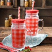 The Pioneer Woman Simple Homemade Goodness 32-Ounce Double-Wall Mason Jar with Lid and Handle, Set of 2