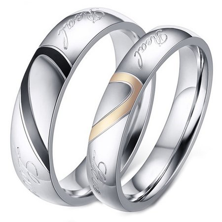 His and Her Real Love Promise Ring, Couple's Matching Heart Wedding Band in Stainless Steel, for Men and Women, Comfort Fit - Duck Band Wedding Rings