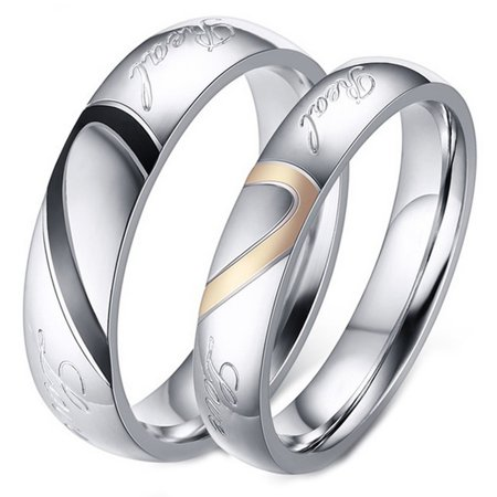 His and Her Real Love Promise Ring, Couple's Matching Heart Wedding Band in Stainless Steel, for Men and Women, Comfort