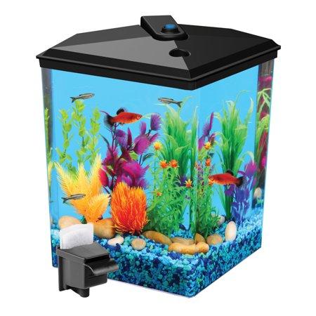 Aqua Culture 2.5-Gallon Corner Aquarium Starter Kit with LED Light and Power (Light Tank Kit)