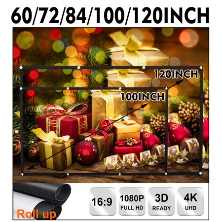 "120""/100""/84""/72""/60"" 16:9 & 4:3 High Contrast Collapsible 4K Portable Foldable Movie Manual Projector Screen Projection HD Home Office Film Theater Xmas Wed Party Movie Cinema"