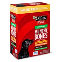 Ol' Roy Munchy Bones Dog Treats Value Pack, Chicken, Liver & Peanut Butter, 60 oz, 21 Count