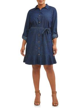 Woman's Plus Size Roll Cuff Chambray Shirt Dress with Ruffle Skirt