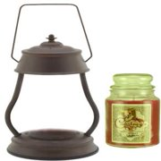 Hurricane Rustic Brown Candle Warmer Gift Set - Warmer + Courtneys 26 oz Jar Candle - DREAMCICLE