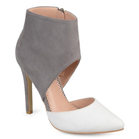 - Brinley Co. Women's Faux Suede Faux Leather Ankle Cuff Two-tone High Heels