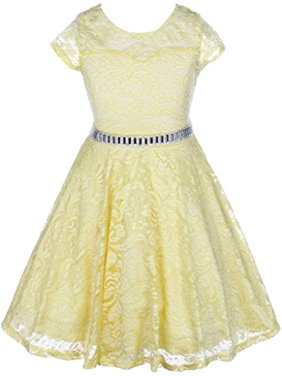 Big Girls' Illusion Lace Top Stone Belt Easter Flower Girl Dress Yellow 8 (J19KS88)