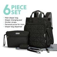 SoHo Collections, Unisex Designer Diaper Bag Backpack, 6 Piece Set with Stroller Straps, Kenneth (Black)