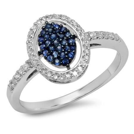 Dazzlingrock Collection 14K Round Blue Sapphire & Diamond Ladies Split Shank Cluster Engagement Ring, White Gold, Size 7 (Sapphire Cluster)
