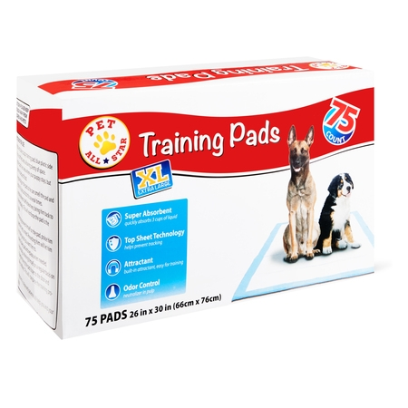 Pet All Star XL Training Pads, 26 in x 30 in, 75 Count (Puffy Pads)