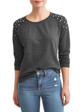 Women's French Terry Pullover with Pearl Trim (Available in Sizes S-3X)