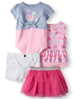 Baby Girls' Print Peplum Bodysuit, 2fer Tie-Front Bodysuit, Shorts and Tutu, 4-Piece Outfit Set