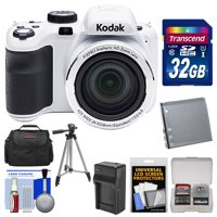 KODAK PIXPRO AZ421 Astro Zoom Digital Camera (White) with 32GB Card + Case + Battery/Charger + Tripod + Kit