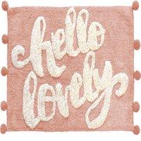 Hello Lovely Cotton Lurex Pom Pom Bath Rug- Soft Pink