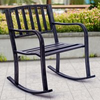 Costway Rocking Chair Patio Deck Metal Porch Seat Outdoor Backyard Glider Rocker