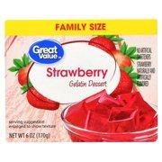 Great Value Gelatin Dessert, Strawberry, 6 oz