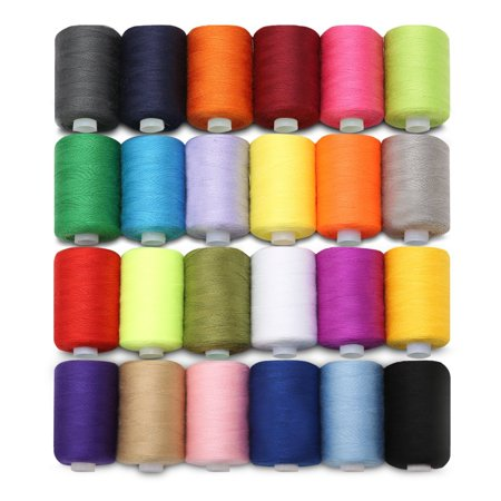 24 Colors 218 Yards Each Cotton Sewing Thread Spools For Hand and Machine (Unf Left Hand Thread)