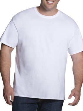 Big Men's Classic White Crew T-Shirts, 3 Pack