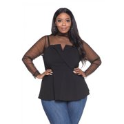 23d4d9f4a5fd Peplum Surplice Front Plus Size Fashion Tops For Women Sheer Long Sleeve,  Black