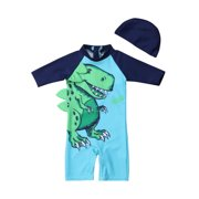 5063f619a7 2PCS Toddler Baby Kids Boy Dinosaur Sun Protective Swimwear Rash Guard  Swimsuit+Hat Costume