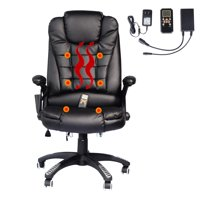 Swivel Gaming Massage Chair Ergonomic PU Leather Executive Office Chair Heated Vibrating 7 Point Wireless Massage Chair with Heating Function (Black)