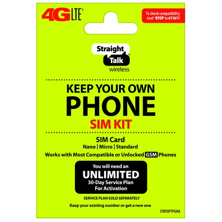 Straight Talk Keep Your Own Phone SIM Card Kit - AT&T GSM Compatible (Dual Sim Card Phone)