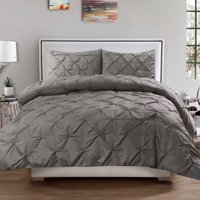 Luxury 3 Piece Pinch Pleat Pintuck Polyester Duvet Cover and Pillow Sham Set