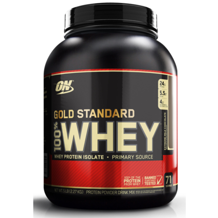Optimum Nutrition Gold Standard 100% Whey Protein Powder, Extreme Milk Chocolate, 24g Protein, 5 -