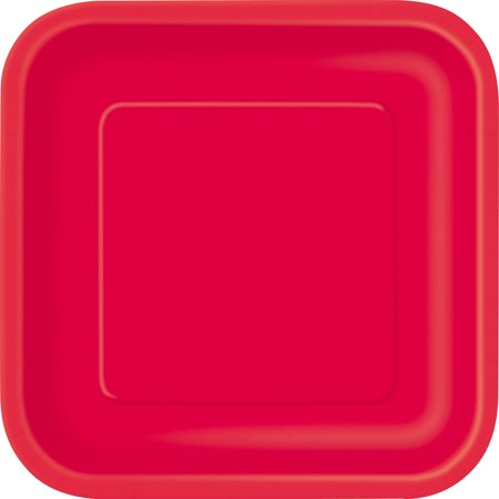 Square Paper Plates, 9 in, Red, 14ct - Girls Party Place