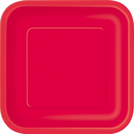 10 X Gold Plated - Square Paper Plates, 9 in, Red, 14ct