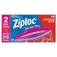 Ziploc Pinch & Seal Storage Bags, Quart, 48 Count