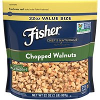 Fisher Chef's Naturals Chopped Walnuts, No Preservatives, Non-GMO, Heart Healthy, Source of ALA Omega, Resealable Bag, 32 oz
