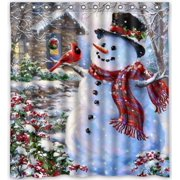 d9ab2e48282 HelloDecor Winter Holiday Merry Christmas Happy Snowman and Cardinals  Shower Curtain Polyester Fabric Bathroom Decorative Curtain