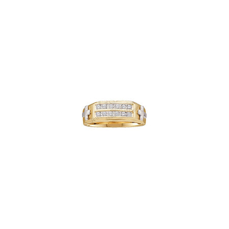 10kt Two-tone Yellow Gold Mens Round Diamond Cross Wedding Band Ring 1/6 Cttw