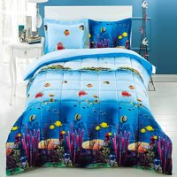 3 Piece 3D Comforter Set - 3D Ocean Fish and Corals Comforter Set Queen Size (D07) - Box Stitched, Soft, Breathable, Hypoallergenic, Fade Resistant -1pc 3D print Queen Comforter, 2pcs 3D print Shams