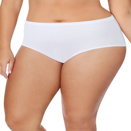 Women's Plus Size Cotton Tagless Brief White Panties, 5 Pack