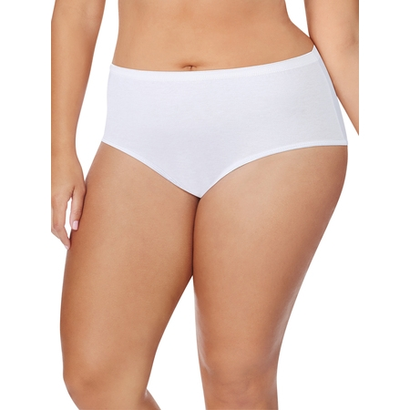 Women's Plus Size Cotton Tagless Brief White Panties, 5 Pack ()