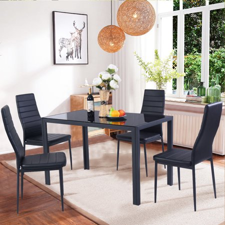 Costway 5 Piece Kitchen Dining Set Glass Metal Table and 4 Chairs Breakfast (Furniture Stone Top Dining Room)