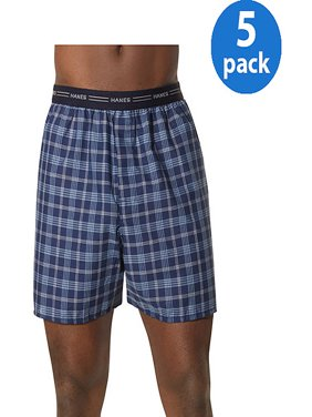 Men's Comfort Flex Exposed Waistband Blue Plaid Boxer 5-Pack