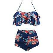 7c8d56d9d0809 SAYFUT Women Retro Floral Printing Swimsuit Plus Size High Waist Slimming  Two Piece Bikini Set Swimwear