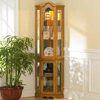 Corner Lighted Curio Cabinet, Golden Oak (Box 1 of 2)